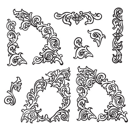 carving: Set of Hand drawing ornamental  decorative elements. Carving style Black and white The best for your design, textiles, posters, tattoos, corporate identity