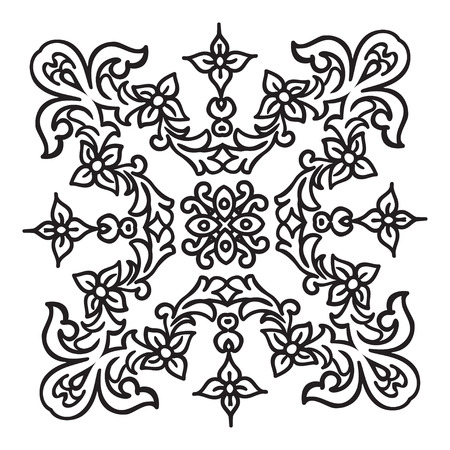 Hand drawing zentangle element. Italian majolica style Black and white. Flower mandala. Vector illustration. The best for your design, textiles, posters, tattoos, corporate identity Ilustração