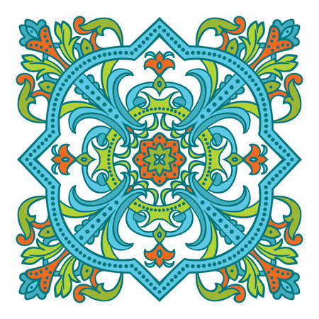 Hand drawing zentangle color element. Italian majolica style Flower mandala. Vector illustration. The best for your design, textiles, posters Ilustração