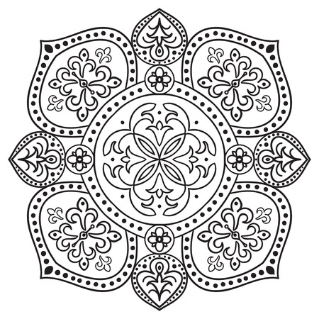 Hand drawing zentangle element. Italian majolica style Black and white. Flower mandala. Vector illustration. The best for your design, textiles, posters, tattoos, corporate identity Vettoriali