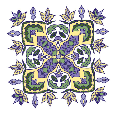 majolica: Hand drawing zentangle color element. Italian majolica style Flower mandala. Vector illustration. The best for your design, textiles, posters Illustration