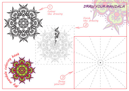 color page: Unique coloring book, rectangular A4 page. Hand drawing zentangle color element. Flower mandala. Vector illustration. Best to older children and adult, who like line art Illustration