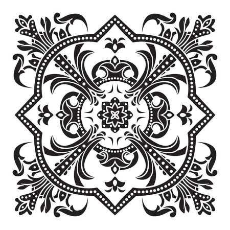 decorative design: Hand drawing decorative tile pattern. Italian majolica style Black and white silhouette . Vector illustration. The best for your design, textiles, posters, tattoos, corporate identity Illustration