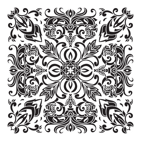 mediterranean style: Hand drawing decorative tile pattern. Italian majolica style Black and white silhouette . Vector illustration. The best for your design, textiles, posters, tattoos, corporate identity Illustration