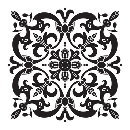 majolica: Hand drawing decorative tile pattern. Italian majolica style Black and white silhouette . Vector illustration. The best for your design, textiles, posters, tattoos, corporate identity Illustration