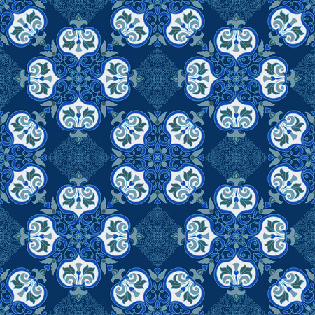 majolica: Hand drawing tile color seamless parttern. Italian majolica style. Vector illustration. The best for your design, textiles, posters
