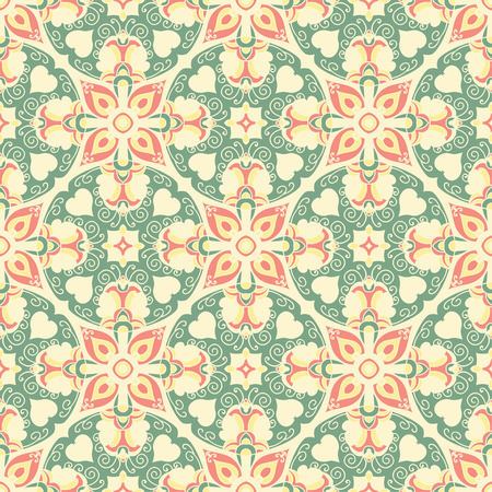 Hand drawing tile vintage color seamless parttern. Italian majolica style. Vector illustration. The best for your design, textiles, posters  イラスト・ベクター素材