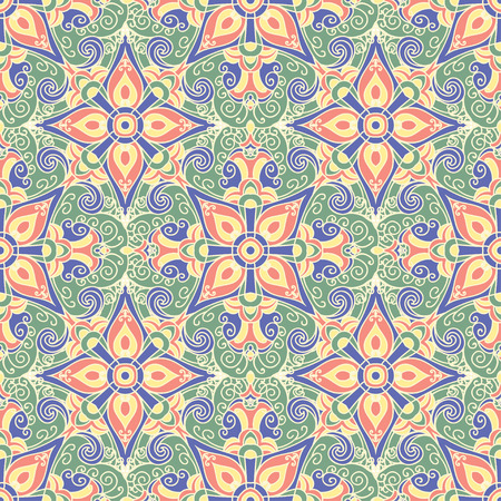 majolica: Hand drawing tile vintage color seamless parttern. Italian majolica style. Vector illustration. The best for your design, textiles, posters Illustration
