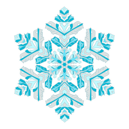 natural color: Hand-drawn doodles natural color snowflake. Zentangle mandala style. Vector illustration. Good idea for greeting cards, invitations, prints, textiles, tattoo. Illustration
