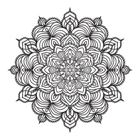 mandala background: Hand drawing zentangle element. Black and white. Flower mandala. Vector illustration. The best for your design, textiles, posters, tattoos, corporate identity