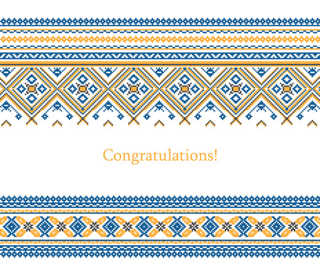 russian pattern: Greeting card with ethnic ornament pattern in different colors on white background. Vector illustration. From collection of Balto-Slavic ornaments