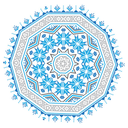 belorussian: Ethnic ornament mandala pattern in different colors on white background. Vector illustration. From collection of Balto-Slavic ornaments Illustration