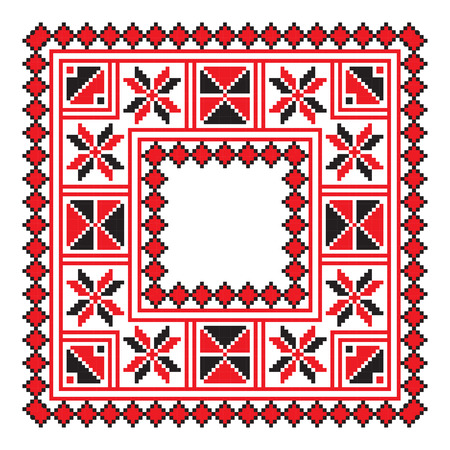 belorussian: Ethnic ornament mandala geometric patterns in red and black colors on white background. Vector illustration. From collection of Balto-Slavic ornaments Illustration