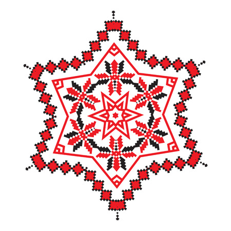 polish lithuanian: Ethnic ornament mandala geometric patterns in red and black colors on white background. Vector illustration. From collection of Balto-Slavic ornaments Illustration