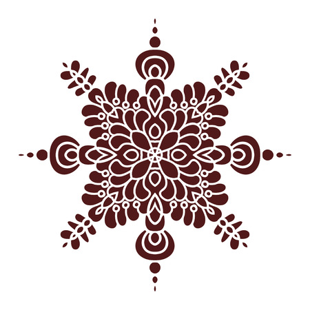 majolica: Hand drawing mandala element, silhouette in marsala color. Italian majolica style Vector illustration. The best for your design, textiles, posters, tattoos, corporate identity Illustration