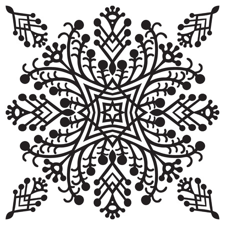 japanese culture: Hand drawing zentangle element. Black and white. Flower mandala. Vector illustration. The best for your design, textiles, posters, tattoos