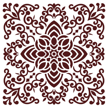 indian tattoo: Hand drawing zentangle element in marsala color. Flower mandala. Vector illustration. The best for your design, textiles, posters, tattoos, corporate identity