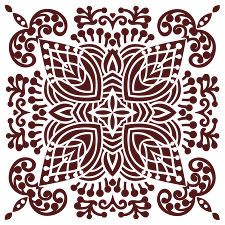 kaleidoscope: Hand drawing zentangle element in marsala color. Flower mandala. Vector illustration. The best for your design, textiles, posters, tattoos, corporate identity
