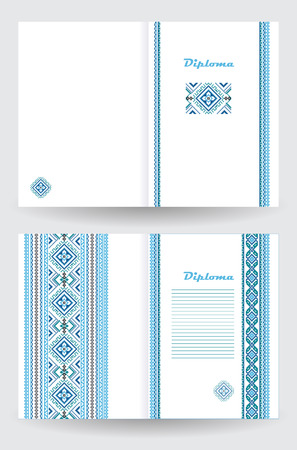 a4 borders: Certificate or diploma template with ethnic ornament pattern in white blue colors Vector illustration. From collection of Balto-Slavic ornaments