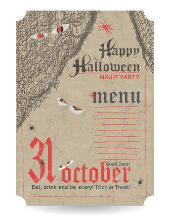 fascia: Vintage menu to Halloween party. Vector illustration.
