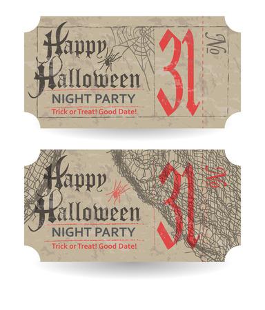 fascia: Vintage ticket to Halloween party. Vector illustration. Illustration