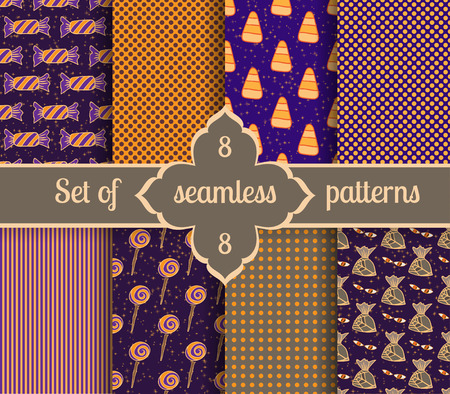 Set seamless backgrounds of sweet and geometric patterns. Collection halloween candy. Vector illustration. Illustration