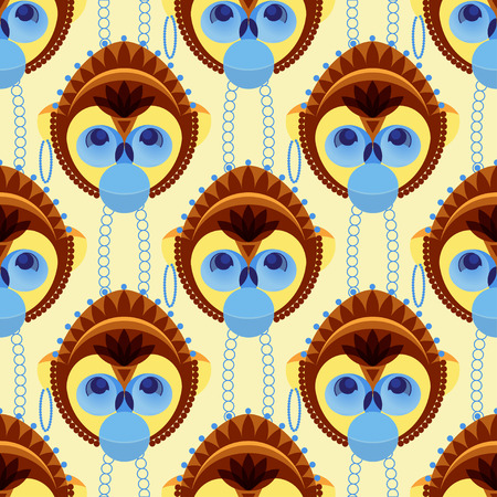 geometrically: Seamless pattern of geometrically stylized monkey head. Vector illustration. A good idea for your design, textiles, wallpaper, print. Illustration