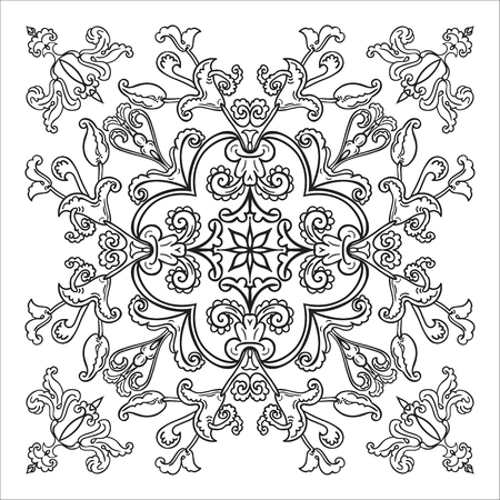 majolica: Hand drawing element. Italian majolica style Black and white. Flower mandala. Vector illustration. The best for your design, textiles, posters, tattoos, corporate identity