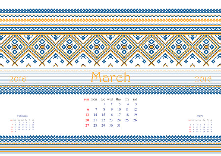 a4 borders: 2016 Calendar with ethnic round ornament pattern in white red blue colors Vector illustration. From collection of Balto-Slavic ornaments Vettoriali