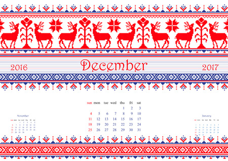 a4 borders: 2016 Calendario con �tnica patr�n ronda adorno en blanco rojo los colores azul Ilustraci�n vectorial. De la colecci�n de ornamentos Balto-eslavo