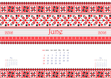 belorussian: 2016 Calendar with ethnic round ornament pattern in white red blue colors Vector illustration. From collection of Balto-Slavic ornaments Illustration