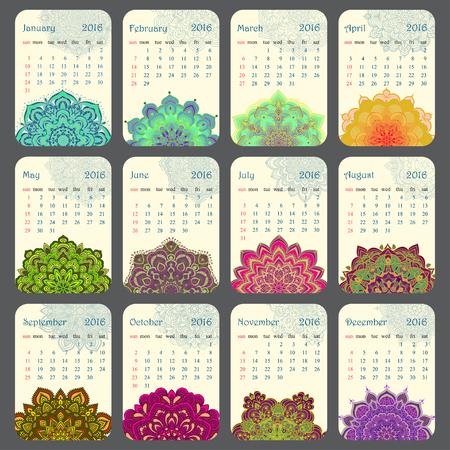model motive: 2016 Calendar decorated with circular flower mandala. Vector illustration
