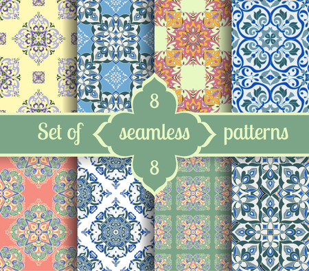 majolica: Set hand tile vintage color seamless pattern. Italian majolica style. Vector illustration. The best for your design, textiles, posters