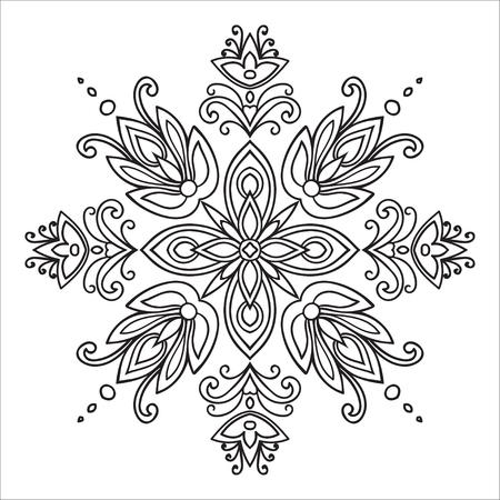 Hand drawing element. Italian majolica style Black and white. Flower mandala. Vector illustration. Çizim