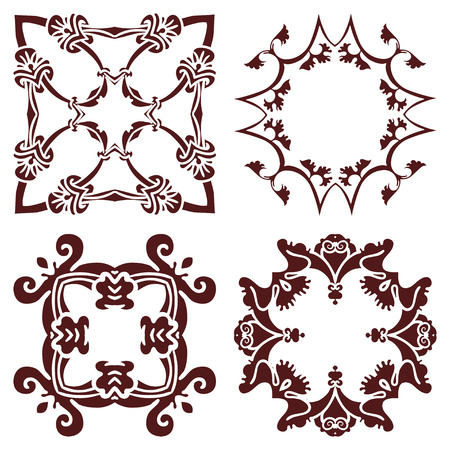 majolica: Set hand drawing decorative frame, silhouette in marsala color. Italian majolica style Vector illustration. The best for your design, textiles, posters, tattoos, corporate identity