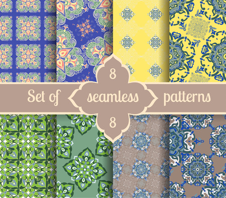 textile design: Set hand tile vintage color seamless pattern. Italian majolica style. Vector illustration. The best for your design, textiles, posters
