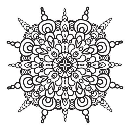 majolica: Hand drawing element. Italian majolica style Black and white. Flower mandala. Vector illustration.  Illustration