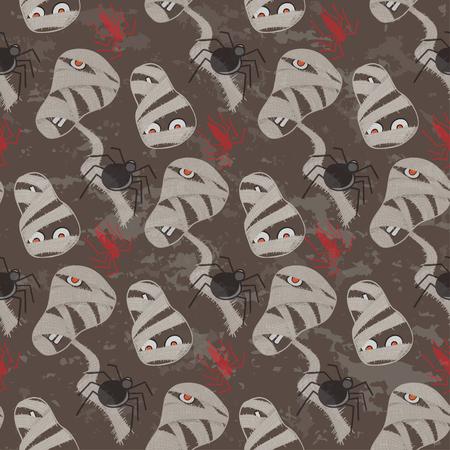 fascia: Vintage seamless pattern for Halloween party. Vector illustration. Illustration
