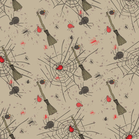 fascia: Vintage seamless pattern for Halloween party. Vector illustration. Illustration