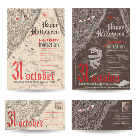fascia: Set of vintage post stamps for Halloween party. Vector illustration.