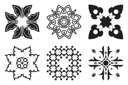 majolica: Set hand drawing decorative mandala elements. Logo template. Vector arabic ornamental symbols Illustration