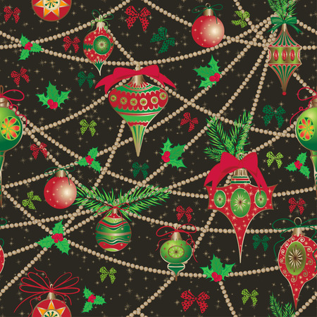 Christmas and New Year vintage seamless pattern with holiday symbols Elegant winter decor for your design of greeting cards, invitation, wrapping paper