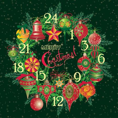 Vintage Christmas Advent Calendar with holiday symbol wreath Elegant winter decor pattern for your design. Vector illustration