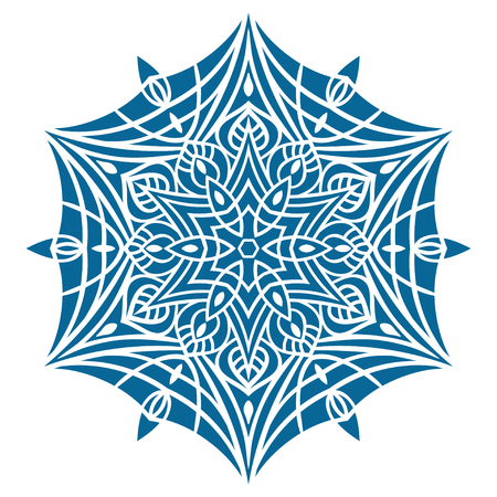 oriental vector: Circular pattern in oriental style, blue silhouette Vector illustration.