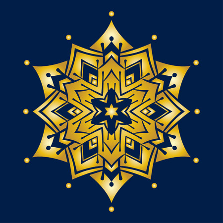 star ornament: Hand-drawn doodles snowflake, golden  gradient. Zentangle mandala style. Vector illustration