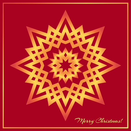 golden star: Template Christmas greeting card design decorated with shiny golden star. Golden Eastern mandala decor, frame for holiday design. Easily editable vector illustration Illustration
