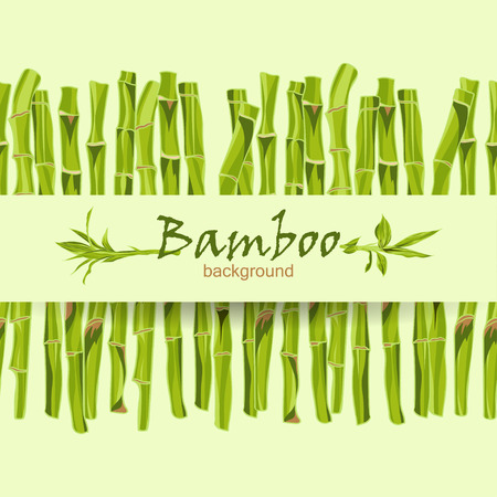 bamboo frame: Hand-drawn green bamboo bacground with space for text. Easily editable  vector illustration