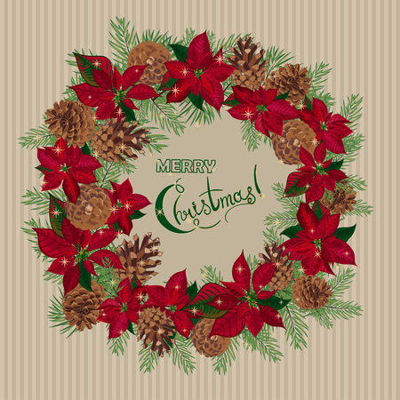 christmas red: Vintage Christmas card with with wreath of pine cones and puansetia. Vector illustration