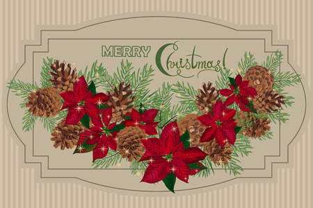 christmas paper: Vintage Christmas card with garland of pine cones and puansetia. Vector illustration