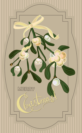 pinecone: Vintage Christmas card with mistletoe berry. Vector illustration Illustration
